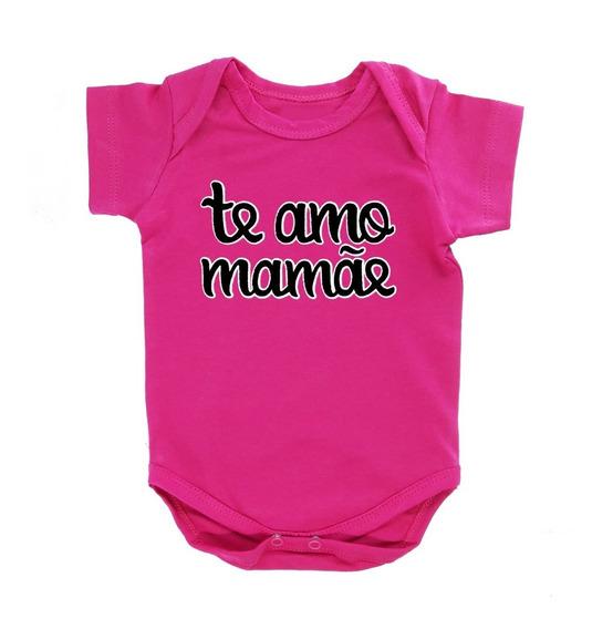Body Bebê Frase Te Amo Mamãe Preço Especial Cor Azul-celeste