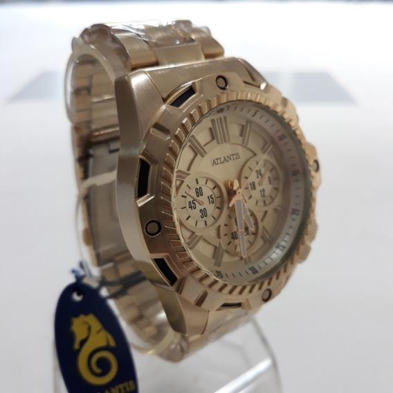 Relógio Dourado Masculino Analog. Atlantis Luxo