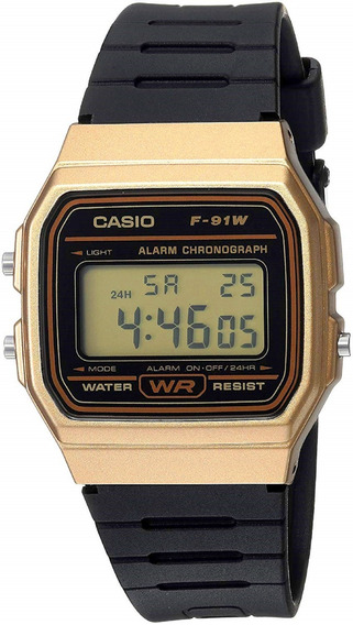 Relógio Casio F-91w Dourado Retro Alarme Cronometro