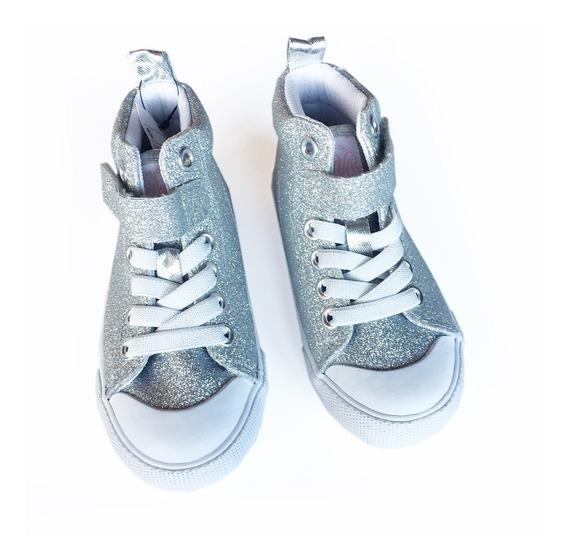 Zapatillas H&m Botita Glitter Plateadas 8 Usa Nena Nuevas