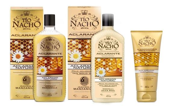 Kit Tío Nacho Manzanilla Shampoo+crema+tratamiento Aclarante