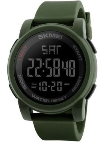 Relógio Skmei 1257 Borracha Verde Redondo Digital