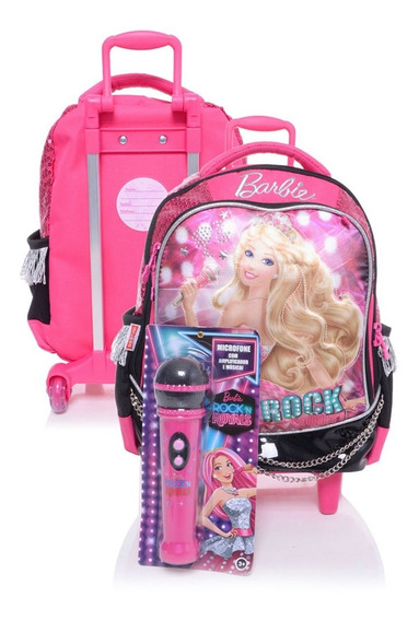 Mochila De Rodinhas Barbie Rock Royals Roxo Microfone Tam M