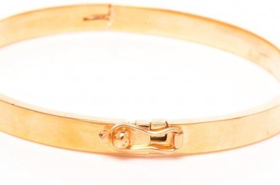 Bracelete Ouro 18k Algema Articulada Retangular 0003