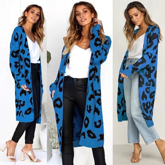 Suéter Tipo Cárdigan Largo De Punto Con Leopardo Para Mujer