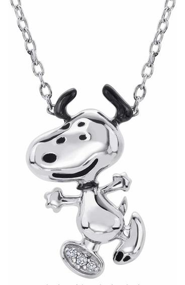 Snoopy Collar De Oro Blanco 14 Kilates
