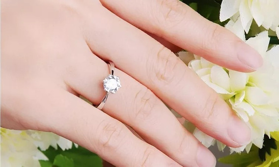 Anel Solitário Prata De Lei950 Noivado Casamento Aniversario