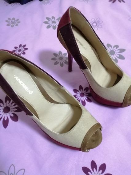 Zapatos Para Dama, Marca Andrea, De Tacón. Excelente Estado.