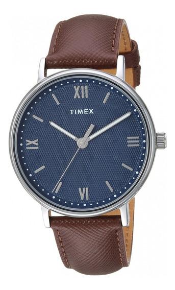 Reloj Timex Hombres 41mm Pulsera De Piel Café