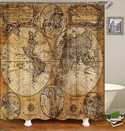 Cortina de Ducha con Mapa de Animales QCWN Quancheng dise/ño de mapas de Animales del oc/éano para ni/ños y ni/ños Multicolor