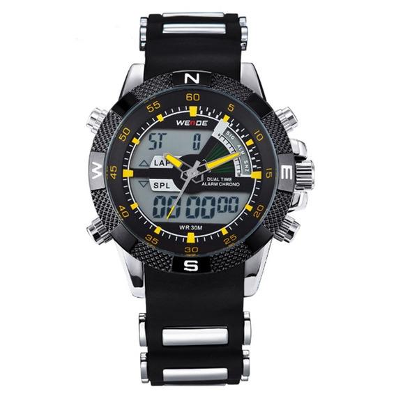 Relógio Masculino Weide Anadigi Wh-1104 Prata E Amarelo