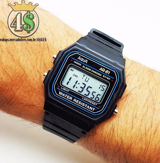 Relógio Digital Masculino Barato Aqua Pequeno Vintage Preto