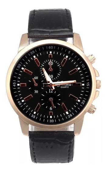 Reloj Hombre Geneva Dorado Correa Negra