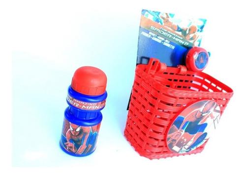 Imagen 1 de 4 de Canasto Timbre Y Caramañola Spiderman Bicicleta Niño - Racer