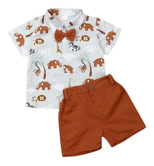 Conjunto Menino Infantil Bebê Camisa Safari Promoção Bermuda