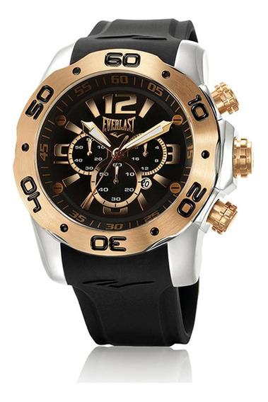 Relógio Pulso Everlast Masculino Cronografo Aço Preto E554
