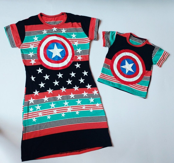 Kit Mae Vestido E Filho Camisa Capitão América