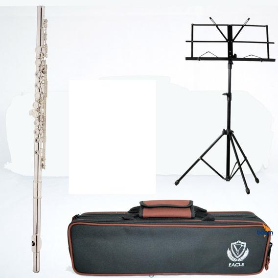 Kit Flauta Eagle Fl03s Prateada Transversal Dó Case Suporte