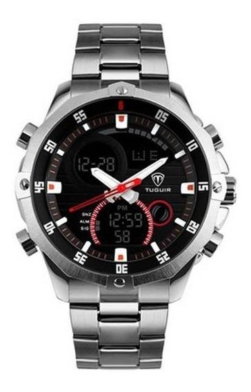 Relógio Prata De Aço Masculino Tuguir Tg1146 A Prova D