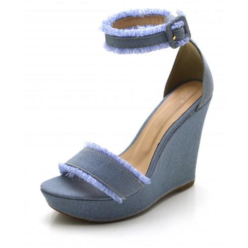 Sandália Salto Alto Em Tecido Jeans-3039