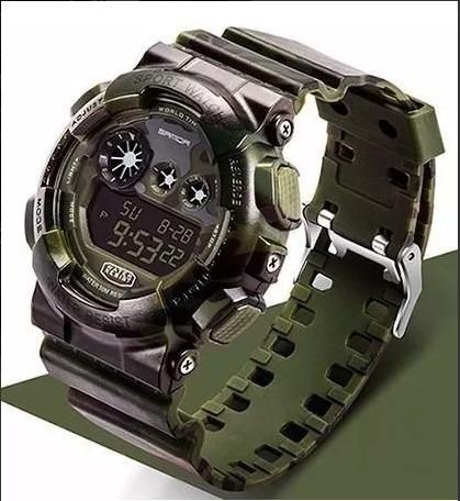 Relógio Camuflado Verde Tático Sanda Shock Militar Exército