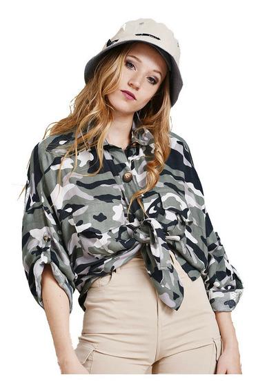 Camisa Safari Camuflada Militar Manga Larga Mujer Imb