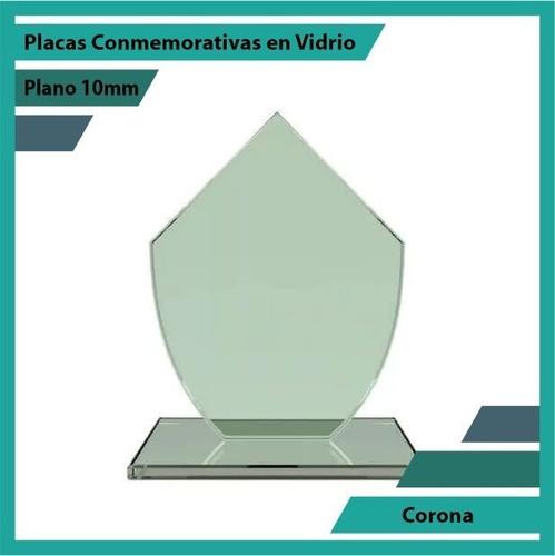 Recordatorios Trofeos En Vidrio Corona Plano 10mm