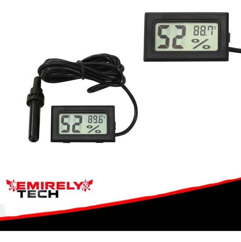 Imagen 1 de 6 de Termómetro Lcd Digital Higrómetro Sonda Temperatura Humedad
