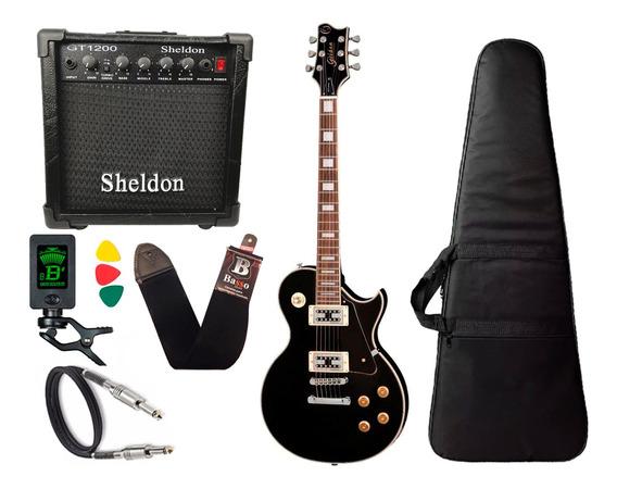 Guitarra Les Paul Golden Preto Fosco Gld151c Stbk Cubo Sheldon