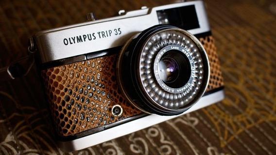 Câmera Fotográfica Olympus Trip 35 - Revisada (marrom)