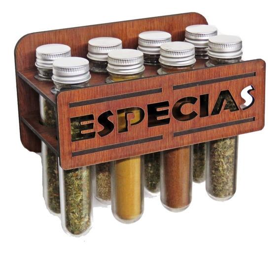 Especiero Condimentero De Pared Con 8 Frascos