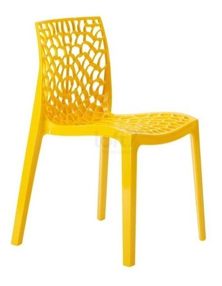 Cadeira Gruvyer Cozinha Jantar Empilhável Alto Brilho Cores