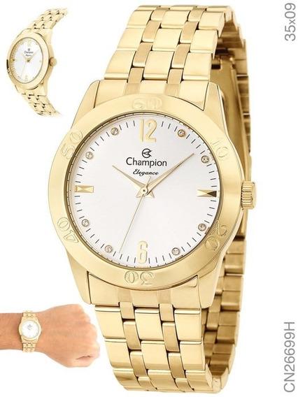 Relógio Champion Feminino Dourado Elegance Novo Cn26699h