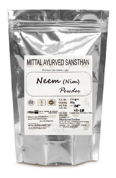 Neem Indiano Em Pó - 100% Puro E Orgânico - 80g