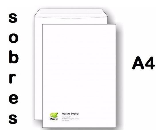 250 Sobres Tamaño A4 Impresos A Color Simple Faz
