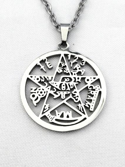 Dije Tetragramatón Pentagrama Protección Acero Con Cadena