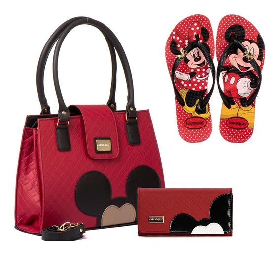 Chinelo Feminino Mickey Minnie Kit Bolsa Carteira