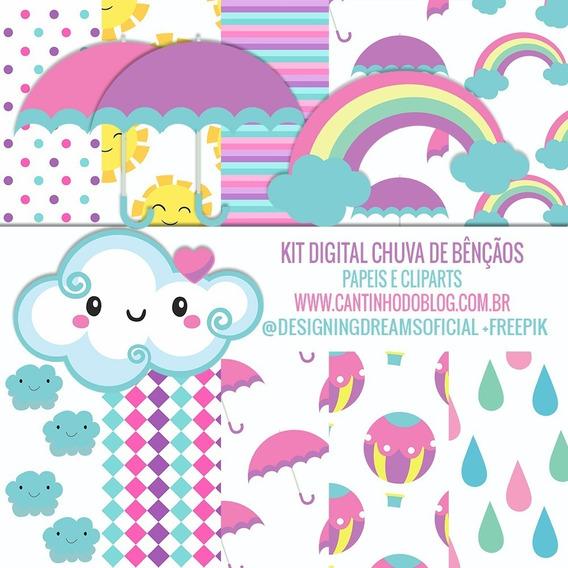Kit Imprimible Lluvia De Amor Nubes Fondos E Imagenes Png