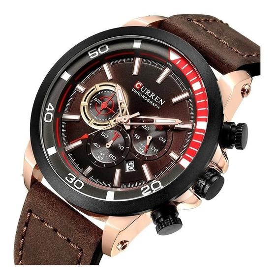 Relógio Curren Masculino 8310 Funcional Cronógrafo Couro