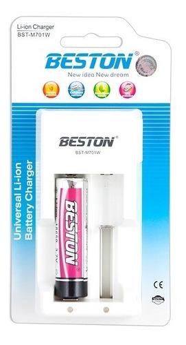 Bateria Pila Beston 3.7 Voltios 18650 + Cargador 2 Puerto