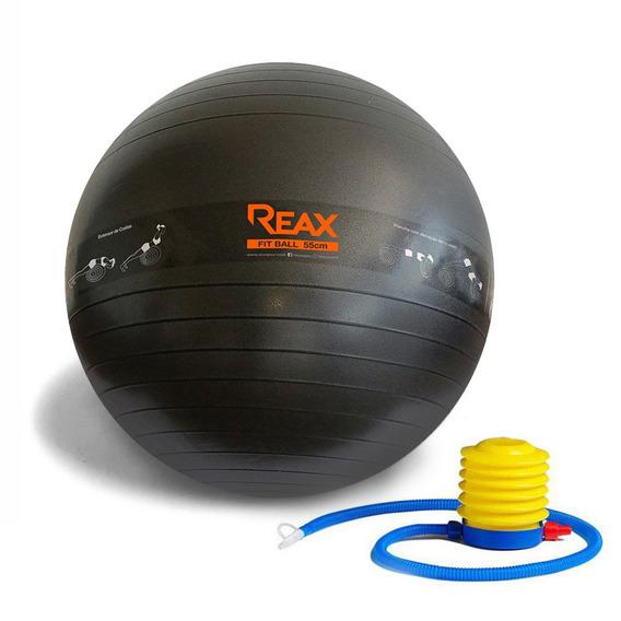 Bola Pilates 55 Cm C/ Faixa De Exercícios E Bomba Reax