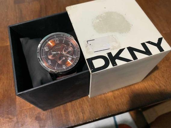 Relógio Dkny Original Com Pulseira De Couro Marrom Ny 1324