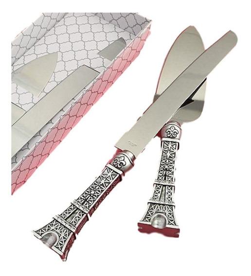 Set Pala Y Cuchillo Y Porta Plumas Torre Eiffel Xv Años