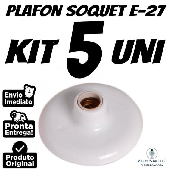 Kit 5 Unidades Plafon Branco 100 Watts Bocal De Porcelana