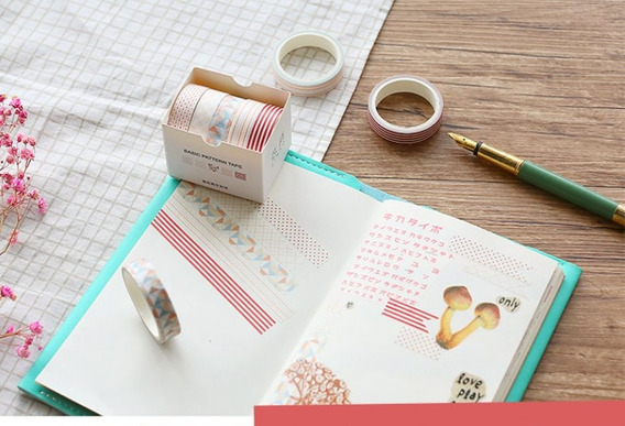 Um Kit De Washi Tape / 5 Fitas Adesivas Decoradas