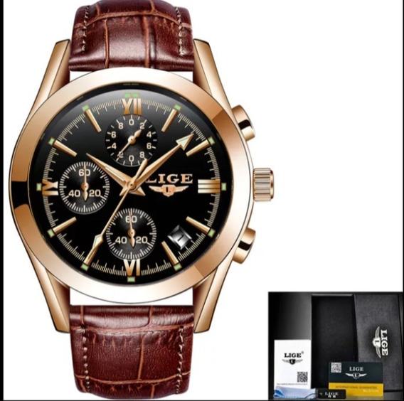 Relógio Masculino Lige 9839 Original A Prova D