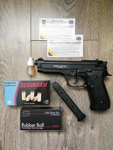 Pistola Traumatica Jackal Dual (auto)+50tiros +2prov.+aceite