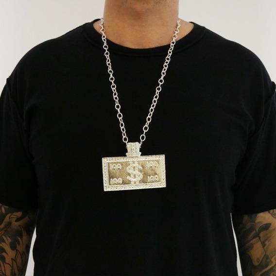 Collar Placa 100 Dólares Color Plata