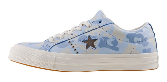 Converse Ox Piel Camo Camuflage Azul Pastel 159704c