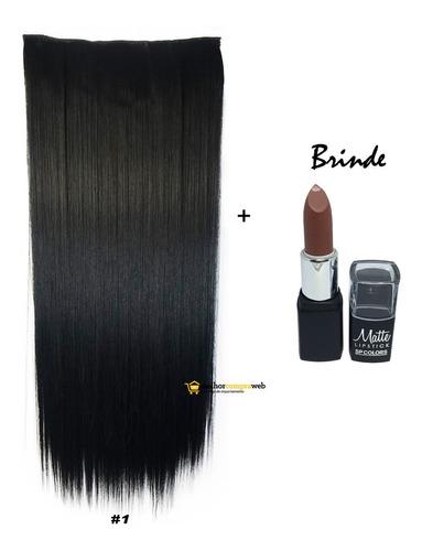 Aplique Tic Tac Orgânico 150g Mega Hair 70cm + Brinde Batom